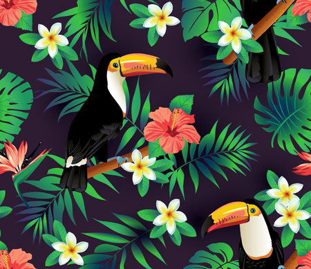 contrasting: Tropical birds and palm leaves seamless background. Vector.