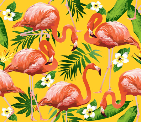 flamenco ave: Flamingo Bird and Tropical Flowers Background - Seamless pattern vector