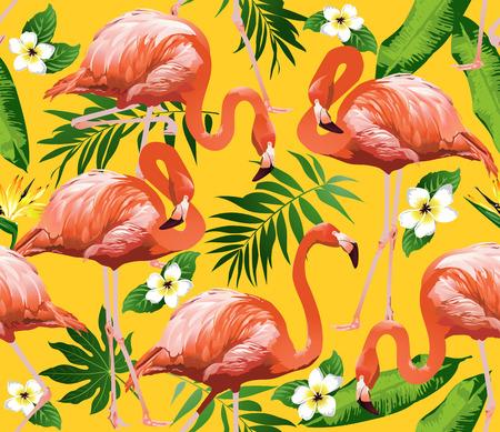 Flamingo Ptak i tropikalne kwiaty Tło - bez szwu wektor wzór