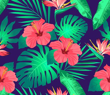 flores tropicales y hojas en el fondo. Sin costura. Vector. Ilustración de vector