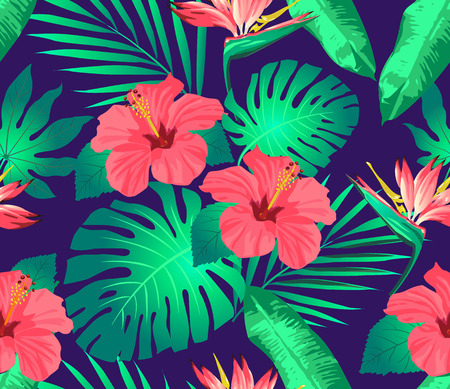cancellation: Tropical flowers and leaves on background. Seamless. Vector.