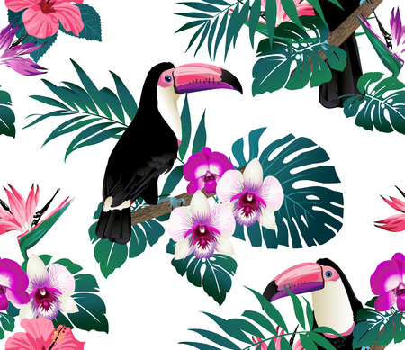 banana sheet: Tropical birds, orchids and palm leaves seamless background. Vector. Illustration