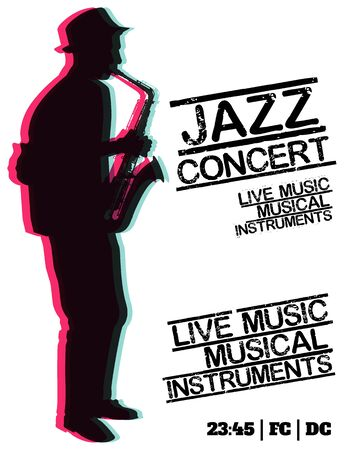 blues music: Jazz blues music concert, poster background template. Vector design poster. Illustration