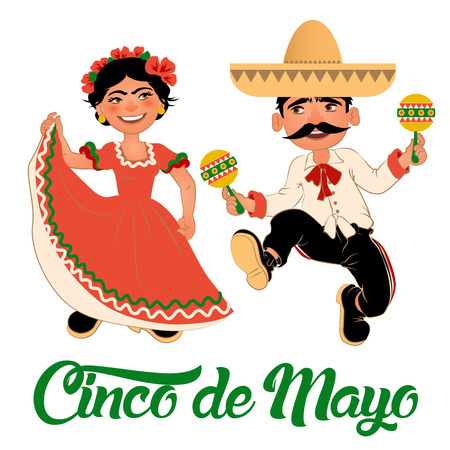 Mexico Dancers at the Cinco De Mayo festival. Mexican and Latin music folk celebration. Vector Illustration.