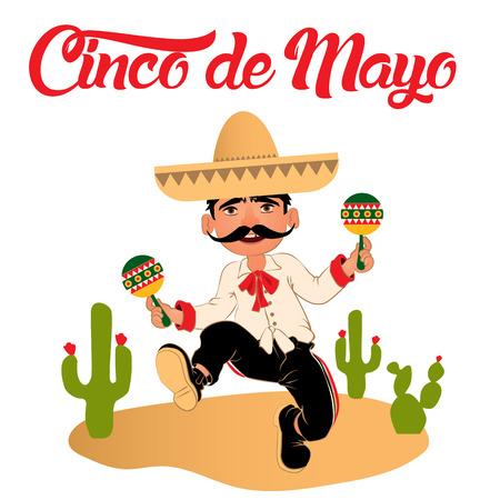 México bailarines en el festival del Cinco de Mayo. celebración de la música popular mexicana y América. Ilustración del vector. Foto de archivo - 69222256
