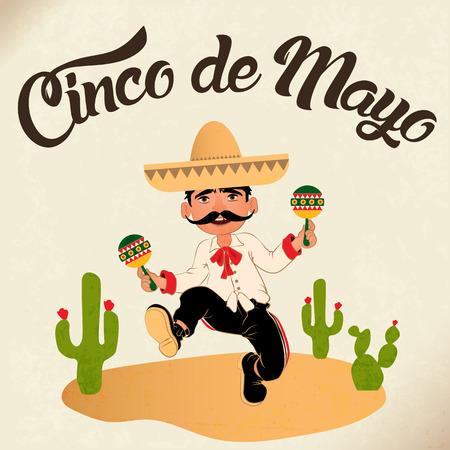 México bailarines en el festival del Cinco de Mayo. celebración de la música popular mexicana y América. Ilustración del vector. Foto de archivo - 69222258