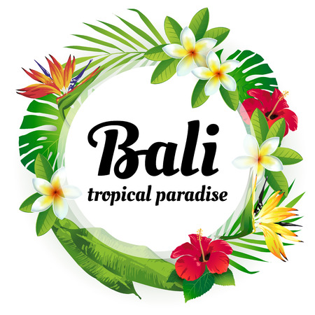 Advertising emblem with type design and tropical flowers and plants. Tropical paradise. Bali.