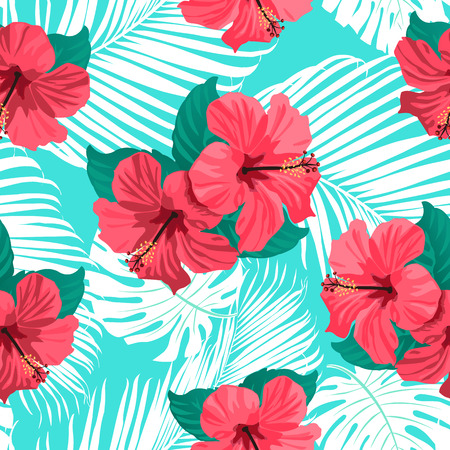 Tropical flowers and palm leaves on background. Seamless. Vector pattern. Vettoriali