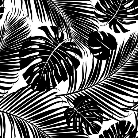 crossbar: Seamless repeating pattern with silhouettes of palm tree leaves in black on white background.
