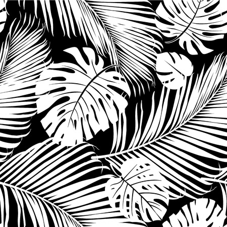 Seamless repeating pattern with silhouettes of palm tree leaves in black on white background.