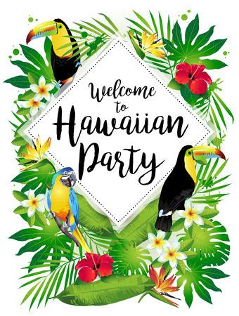 Bienvenue à la fête hawaïenne! Illustration vectorielle d'oiseaux tropicaux, de fleurs, de feuilles. Banque d'images - 69222411
