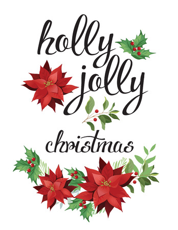 Holly, jolly. Wreath of red poinsettia and leaves. Watercolor illustration.