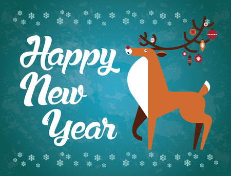 Happy New Year reindeer with Christmas toys on the horns. Vector illustration. New Year card.