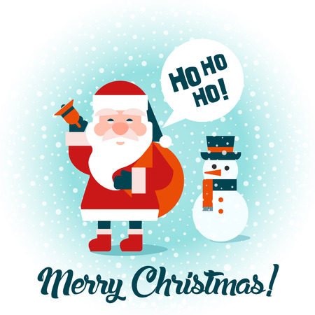 Santa with gifts and snowman. Merry Christmas! Happy New Year. Flat design. Vector.