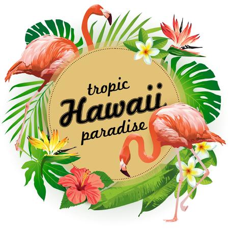 ハワイの熱帯楽園。熱帯の鳥、花、葉のベクター イラストです。