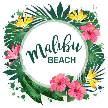malibu: Malibu Beach Party poster. Tropical background. Vector illustration