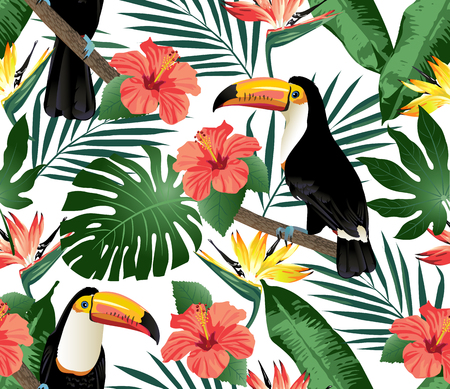 Tropical birds and palm leaves seamless background. Vector. Imagens - 69151502