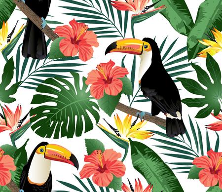 Tropische vogels en palmbladeren naadloze achtergrond. Vector. Stockfoto - 69151502