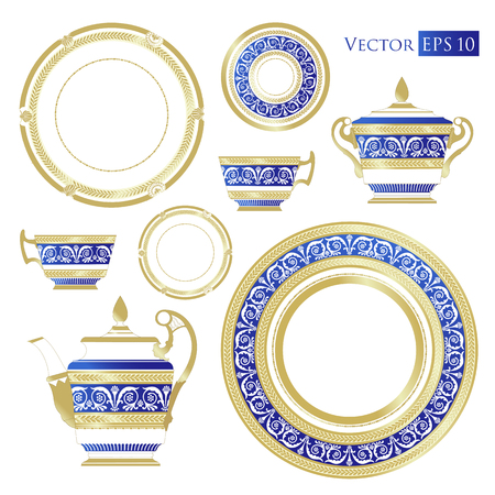 classicism: Fine China - Set of porcelain. Services. Teapots, cups, sugar bowls, saucers and plates. Illustration