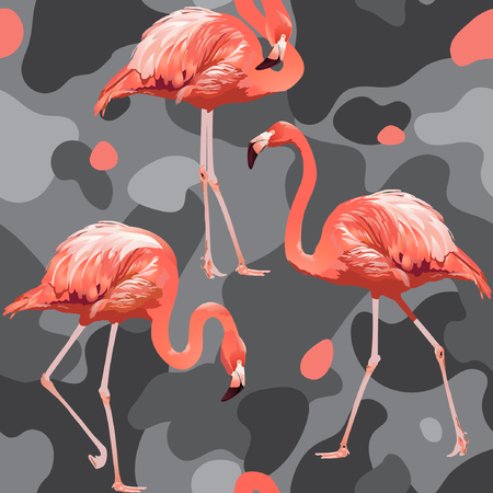 Beautiful pink flamingo print on camouflage background. Seamless vector pattern. Trendy nature wallpaper