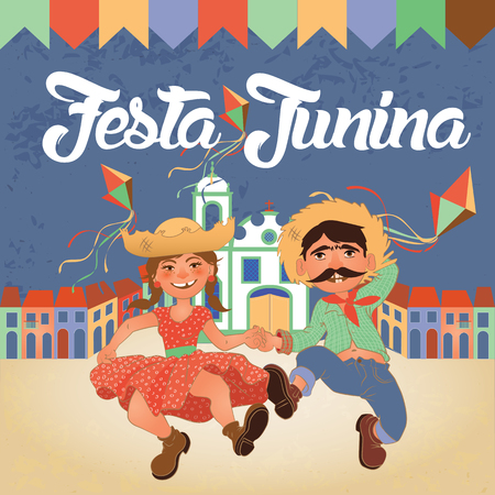 Festa Junina illustration - traditional Brazil June festival party. Vector illustration. Latin American holiday.