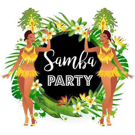 Brazilian samba dancers. A beautiful carnival girl wearing a festival costume is dancing.