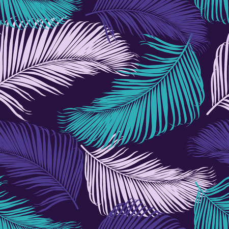 Fashion tropical seamless pattern. Colorful palm leaves. Modern trendy endless background. Vector.
