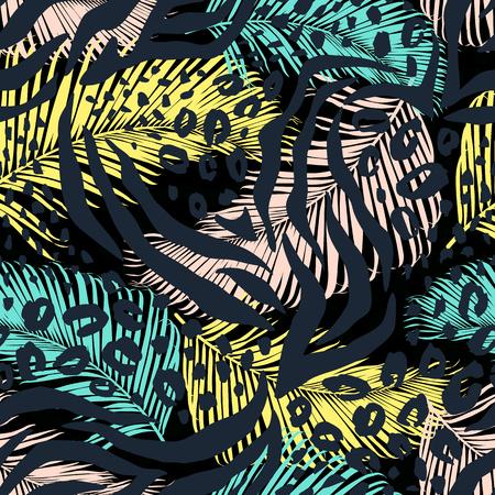 Modelo inconsútil geométrico abstracto con el animal print. texturas dibujadas a mano de moda. Ilustración de vector