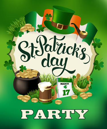 St. Patricks Day Party vintage holiday poster design. Vector illustration. Stock Vector - 70918141