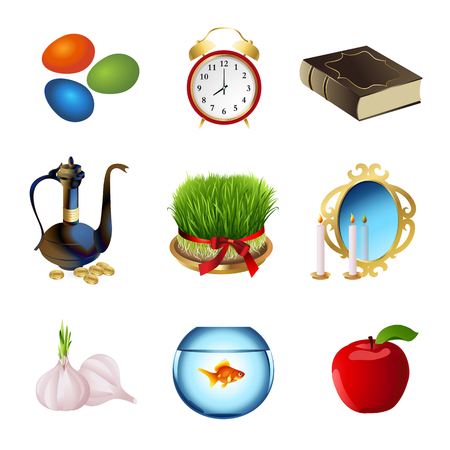 cult tradition: Set icons for Nowruz holiday. Iranian new year. Vector illustration. Illustration
