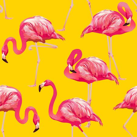 elasticity: Tropical Bird Flamingo Background - Seamless pattern vector