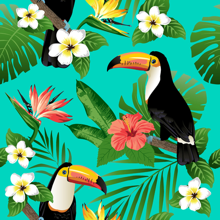 banana sheet: Tropical birds and palm leaves seamless background. Vector.