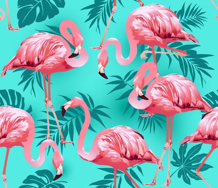 Flamingo Bird and Tropical Flowers Background - vecteur de motif sans couture Banque d'images - 73544221