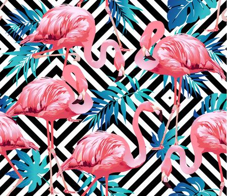 Flamingo Bird and Tropical Flowers Background - vecteur de motif sans couture Banque d'images - 74413701
