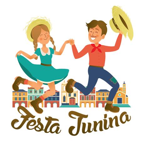 Festa Junina illustration - traditional Brazil June festival party. Vector illustration. Çizim