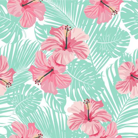 Fondo tropical de flores y hojas de coral. Sin costura. Vector. Foto de archivo - 74218146