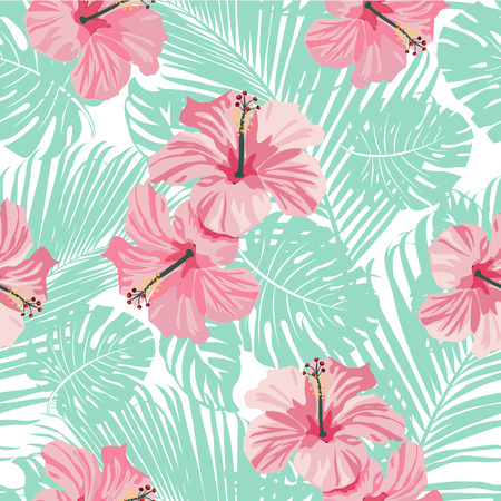 Tropical coral flowers and leaves background. Seamless. Vector.
