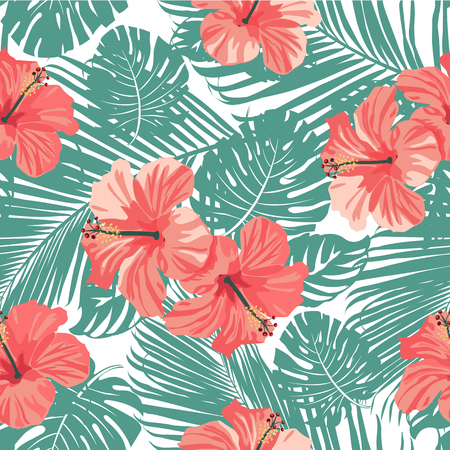 Beautiful tropical coral flowers and leaves background Seamless Vector.