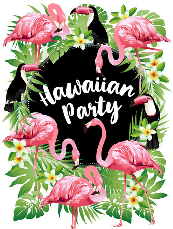 Hawaiian party. Vector illustration of tropical birds, flowers, leaves. Vettoriali
