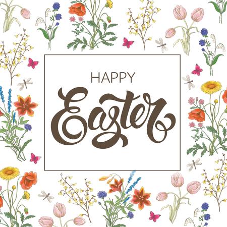 Happy Easter. Tulip, dandelion, cornflower, delicate flower, vector pattern.
