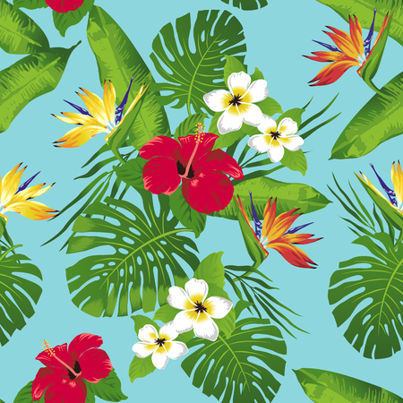 Tropical flowers and leaves on turquoise background. Seamless. Vector. Stok Fotoğraf - 75349934