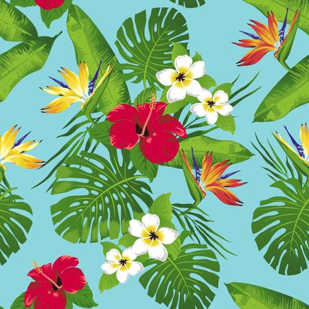 Tropische bloemen en bladeren op turkooise achtergrond. Naadloos. Vector.