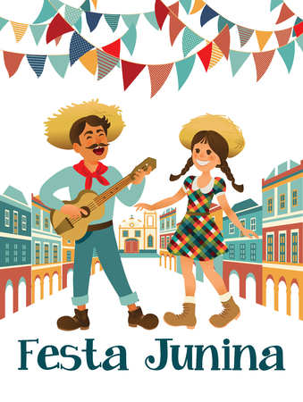 Musician with a guitar and girl. Brazilian holiday Festa Junina. June party. Vector illustration Illustration