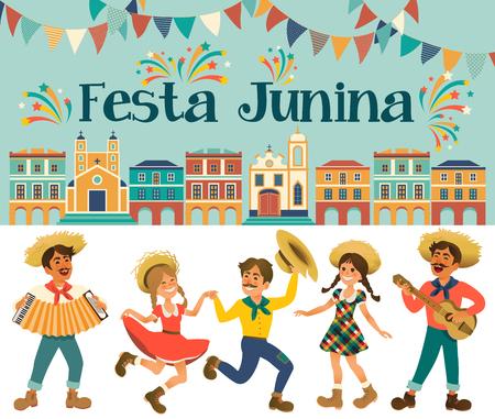 Festa Junina - Braziliaans junifestival. Folklore vakantie. Karakters. Vector illustratie.