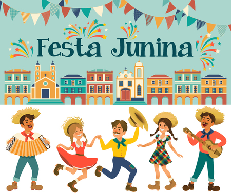Festa Junina - Brazil June Festival. Folklore Holiday. Characters. Vector Illustration. Illustration