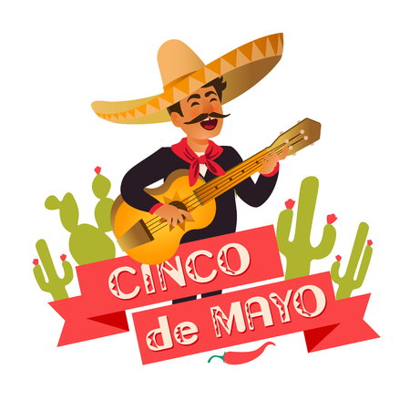 Mexico guitar player at the Cinco De Mayo festival. Mexican and Latin music folk celebration. Vector Illustration. Illustration