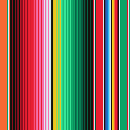 Mexican Blanket Stripes Seamless Vector Pattern. Background for Cinco de Mayo Party Decor or Mexican Food Restaurant Menu. Vettoriali