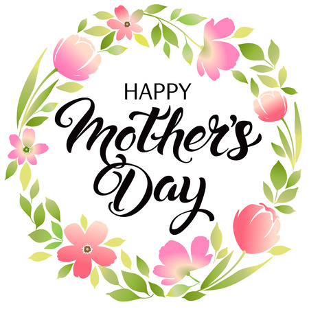 Happy Mothers Day lettering. Mothers day greeting card. Ilustração