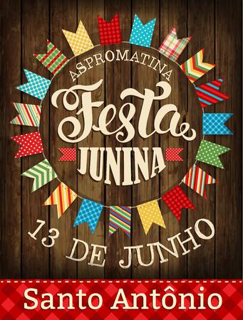Festa Junina illustre le festival traditionnel du festival du Brésil en juin. Illustration vectorielle. Affiche. Banque d'images - 76968163