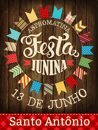 Festa Junina ilustración tradicional fiesta de junio de junio de Brasil. Ilustración del vector. Póster.
